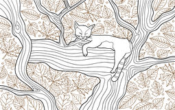 Coloring animal book page for adults. Funny cat sleeping on the tree Royalty Free Stock Photo