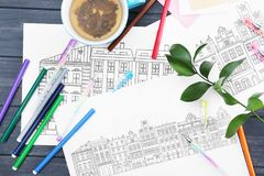 Coloring anti stress picture Stock Images