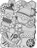 Coloring Antistress for adults. Black and white contour decorative scarf with a ball of yarn and knitting needles, mittens and sno Stock Images