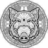 Coloring antistress page. Wild boar is drawn by hand with ink. Zendoodle. Royalty Free Stock Photos
