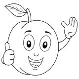 Coloring Apricot Character with Thumbs Up Stock Photos