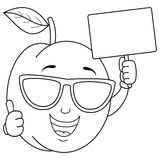Coloring Apricot with Sunglasses & Banner. Coloring illustration for kids: a cool cartoon apricot character with thumbs up, sunglasses and holding a blank banner Royalty Free Stock Photo