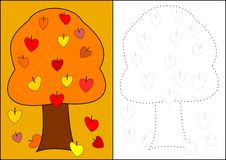 Coloring - Autumn Tree Stock Images
