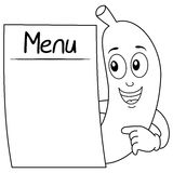 Coloring Banana Character with Blank Menu. Coloring illustration for kids: a cheerful cartoon banana character smiling and holding a blank menu, isolated on Royalty Free Stock Photo