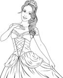 Coloring the Beautiful Princess. Vector illustration, coloring, beautiful fairy princess dancing at the balln Royalty Free Stock Photo