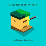 Coloring of beehives (spring work) Stock Photo