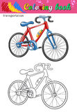 Coloring of bicycle Stock Images