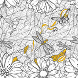 Coloring black and white seamless pattern. Of leaves, dragonflies, beetles and butterflies. Painting draw for you Stock Photography