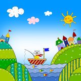 Coloring book. Colorful graphic illustration for children Royalty Free Stock Image