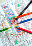 Coloring Book. And colored pencils with partially colored picture Royalty Free Stock Image