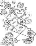 Coloring book for adult. I love you. Valentines day. Abstract doodle background made of flowers  and butterfly. Ornamental design for cards. Vector coloring Royalty Free Stock Images