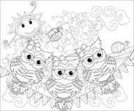 Coloring book for adult and older children. Coloring page with cute owl and floral frame. Outline drawing in zentangle. Style royalty free illustration