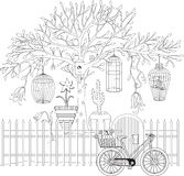 Coloring book for adult and older children. Coloring page with d Royalty Free Stock Photography