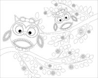 Coloring book for adult and older children. Coloring page with cute owl and floral frame. Outline drawing in zentangle style royalty free illustration