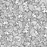 Coloring book for adult. Adult coloring book page design with currant  berries seamless pattern. Floral seamless pattern. Vector illustration Royalty Free Stock Photo