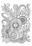 Coloring Book for adult and relax. Guitar. Maxican. Coloring Book for adult and relax. Guitar and flowers Royalty Free Stock Photo