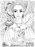 Coloring book for adult. Young lady with Owl and Monkey. Stock Photography