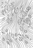 Coloring book for adults. An abstract pattern of rain and autumn Stock Photos