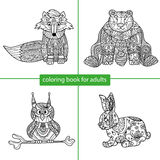 Coloring book for adults. Cartoon character Stock Images