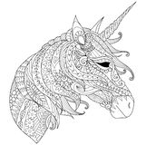 Coloring Book for adults. Colouring pictures with fairytale magic unicorn, also can be used for printing on product. Vector illust vector illustration