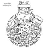 Coloring book for adults. A glass vessel with memories of summer. A bottle with bees, butterflies, ladybug and leaves. Royalty Free Stock Image