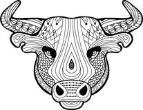 Coloring book for adults. The head of a Buffalo Stock Image