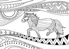 Coloring book for adults. Line art design. The horse in national patterns Royalty Free Stock Photography