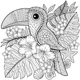 Coloring book for adults. Toucan among tropical leaves and flowers. vector illustration
