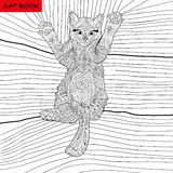 Coloring book for adults - zentangle cat book, ink pen, black and white background, intricate pattern, doodling. Coloring book for adults - kitten on the blanket vector illustration