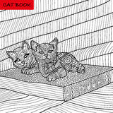Coloring book for adults - zentangle cat book, ink pen, black and white background, intricate pattern, doodling. Coloring book for adults - kittens on the book stock illustration