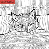 Coloring book for adults - zentangle cat book, the kitten on the bed Royalty Free Stock Photography