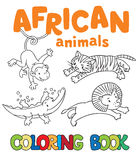 Coloring book with african animals Royalty Free Stock Photos