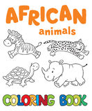 Coloring book with african animals Stock Photos