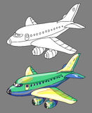 Coloring book with airplane Stock Photos