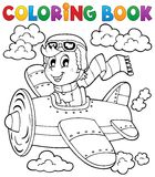 Coloring book airplane theme 1 Royalty Free Stock Photography