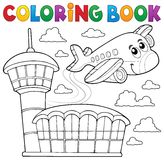 Coloring book airplane theme 3 stock illustration