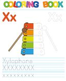Vector coloring book alphabet. Educational game for kid. Simple level of difficulty. Restore dashed line and color the picture. Tr. Coloring book alphabet Stock Image
