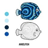 Coloring book, Angelfish. Coloring book for children, Angelfish royalty free illustration