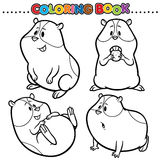 Coloring Book. Animal Cartoon Coloring Book - Hamster Royalty Free Stock Photography