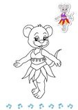 Coloring book animal dancers 10 - mouse stock photography
