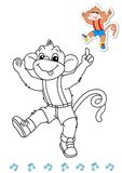 Coloring book animal dancers 12 - monkey Stock Photos