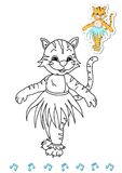 Coloring book animal dancers 14 - tiger Royalty Free Stock Photos