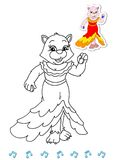 Coloring book animal dancers 16 - cat Stock Image