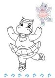 Coloring book animal dancers 17 - hippo. Page for children, with the hippo. Color digital illustration with the sketch in black and white and the colored example Stock Image