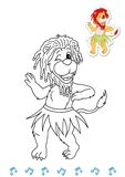 Coloring book animal dancers 18 - lion Royalty Free Stock Images