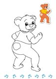 Coloring book animal dancers 19 - bear Royalty Free Stock Photo