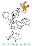Coloring book animal dancers 2 - rooster Stock Photos