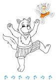 Coloring book animal dancers 5 - wolf royalty free stock image