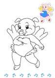 Coloring book animal dancers 6 - pig royalty free stock image