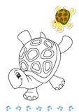 Coloring Book Animal Dancers 8 - Turtle Royalty Free Stock Photo